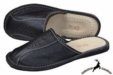 Men's Genuine Cowhide Black Leather House Slippers Scuffs Slip On All Size S New