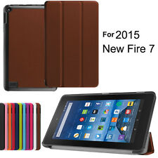 """Universal Folio Faux Leather Case Cover Stand for Amazon Kindle Fire 7"""" Tablets"""