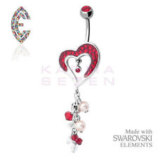 Red Dangle Heart Belly Bar by Crystal Evolution® with SWAROVSKI ELEMENTS