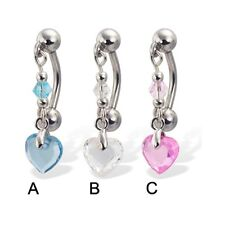 Reversed belly button ring with dangling heart-shaped stone