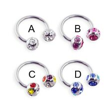 Stainless steel circular (horseshoe) barbell with multi-color jeweled balls,...