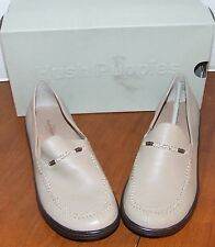 Hush Puppies Beadworks Light Taupe Leather Flats Shoes