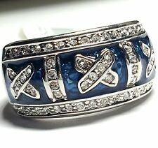 Silver Rhodium Plated Royal Blue Enamel Cocktail Ring Band Montana Size 8 9 USA