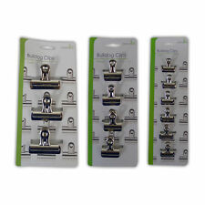 Bulldog Clips - Paper Binder Metal Fold Back Document Small Large Clamps