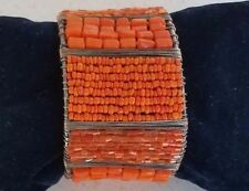 Sterling Silver Hand Crafted  Retro  Beaded Wide Cuff Bangle Bracelet  NEW