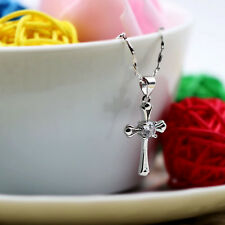 925 Sterling Silver Chic Cross Crystal Necklace Silver Pendant Women Jewelry