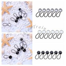 Set of 6 Button Rhinestones Expanders Flexible Extenders Collar for Dress Shirts