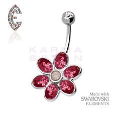 Red Flower Belly Bar by Crystal Evolution® with SWAROVSKI ELEMENTS