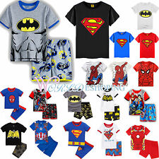 Kids Boys Superhero Clothing Casual T-shirt Shorts Pants 2Pcs Outfit Pajamas Set