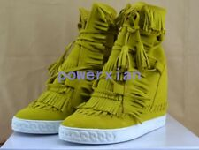 Womens Hidden Wedge Heel high top Tassels shoes suede lace up sneakers shoes Sz