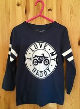 """Boys New """"I Love My Daddy"""" Blue Motorbike Top Ages 1-4 Years"""