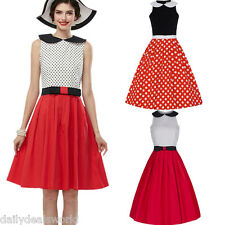 Retro Women Swing 1950s Housewife Pinup Vintage Rockabilly Polka Dot Party Dress