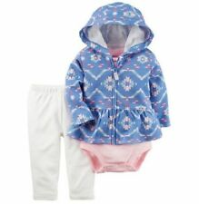 NWT Carters Baby Girl 3-Piece Blue Aztec Hoodie Jacket Set Outfit Sizes 3-24 Mo.