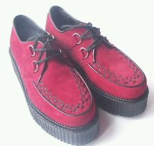 Red Suede Creepers UK 3 4 6 Rockabilly Punk Psychobilly Ska Indie Cosplay