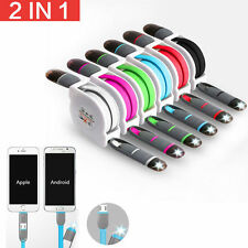 2In1 Sync Dual Retractable USB Lightning Data Cable Charger F Android iPhone RF