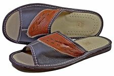 Mens Handmade Real Buffalo Leather House Indoor Slippers Slides City Sandal S