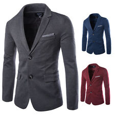 New Mens Slim Two Button Casual Suit Blazer Coat Jacket Two Pockets Stripe Tops