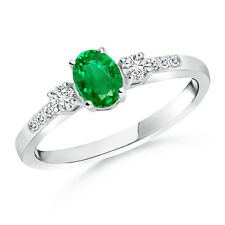 Natural Oval Emerald & Diamond Three Stone Ring in 14k White Gold size 3-13