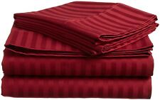 1200 Thread Count Egyptian Cotton 3 PC's Duvet Set Burgundy Stripe