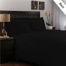 1200 Thread Count Egyptian Cotton 5 PC's Duvet Cover Set Black Stripe
