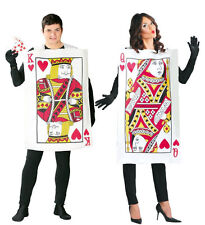 MENS LADIES PLAYING CARD COSTUME KING FANCY DRESS QUEEN OF HEARTS OUTFIT NEW