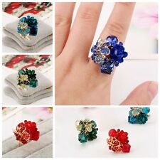 Women Fashion Party Wedding Jewelry Colorful Resin Flower Adjustabl Crystal Ring