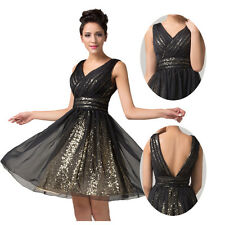 Black Sequin Homecoming Bodice Short Bridal Prom Cocktail Party Evening Dress