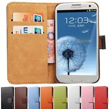 Genuine Leather Wallet Case for Samsung Galaxy S3 i9300 SIII Flip Style Phone Co