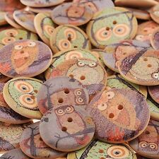 50Pcs Scrapbooking Crafts Wooden Buttons Sewing Owl Design Patchwork
