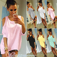US4-14 Womens Summer Cold Shoulder T-shirt Top Short Sleeve Casual Tee Blouse