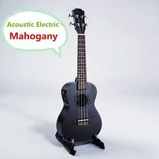 Soprano Concert Tenor Acoustic Electric Ukulele Handcraft Black Mahogany