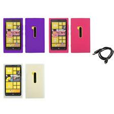 For Nokia Lumia 920 Silicone Skin Rubber Soft Case Cover + Cable