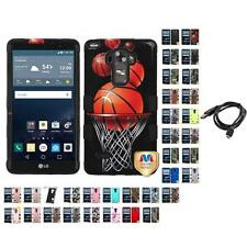 For LG G Vista 2 Hybrid TUFF IMPACT Phone Case Hard Rugged Cover + Cable
