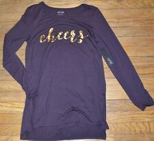 Apt 9 Long Sleeve CHEERS Top with Gold Foil Letters Size Medium Step Hem Tee