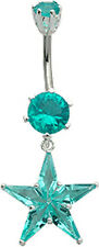 Silver Star Dangle Belly Button Ring with CZ Crystal - FREE V.Bag