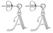 925 Sterling Silver Stud Earrings Alphabet CZ Crystals Letters A-Z FREE GiftBox