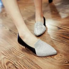 Womens Lady Street Pointed Toe Loafers Shiny Slip On block Low Heels Shoes sz