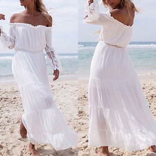 Lady Summer Boho Long Maxi Dress Evening Cocktail Party Beach Strapless Dresses