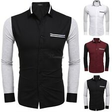 Men's Turn Down Collar Long Sleeve Patchwork Casual Button Down Shirt WT8801