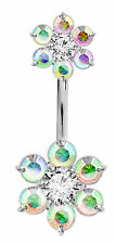 Double Charm Silver Belly Button Ring with CZ Crystal - FREE Velvet Bag