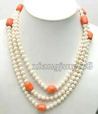 SALE Long 60'' White Round Natural pearl & Thick Slice Pink Coral Necklace-5290