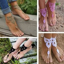 Wedding Dance Beach Crochet Barefoot Anklet Knit Anklet Sandals Foot Jewelry