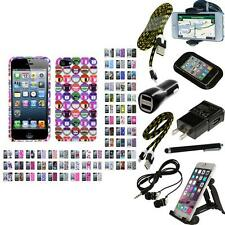 For Apple iPhone 5/5S/SE Design Snap-On Hard Case Phone Cover + Bundle