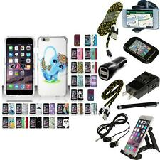For iPhone 6 Plus (5.5) Hard Rubberized Matte Snap-On Case Phone Cover + Bundle