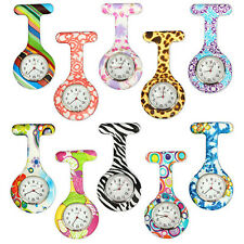 Arabic Numerals Round Dial Silicone Nurses Brooch Tunic Fob Pocket Watch Casual