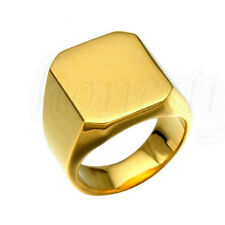 Fashion Mens Gold Stainless Steel Ring Tone High Polished Signet Solid Band Ring