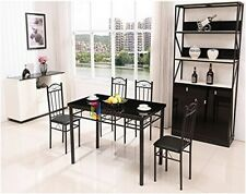 Set Dining Table Glass Top/ 4pc Faux Leather Chairs Metal /Black /Tempered Glass