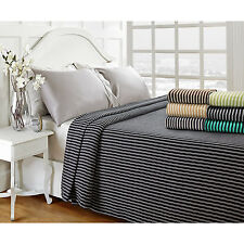 Striped Cotton Blanket All-Season Reversible Bedspread Woven Throw Blankets