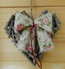Rustic Vintage Twig Hanging Heart. Country Cottage. CHOICE OF RIBBON
