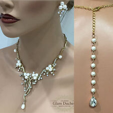 Gold Crystal pearl Backdrop Necklace earrings bridesmaid Wedding jewelry set